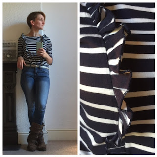 Boden frilly Breton top with Jeans