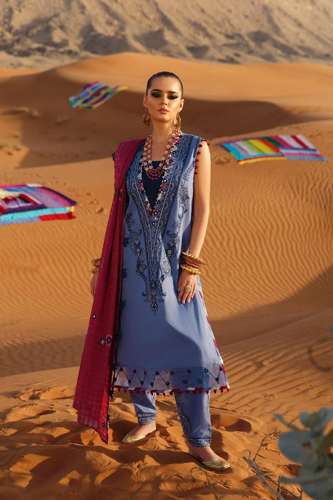 Ethnic Sky blue Suit Embroidered Lawn