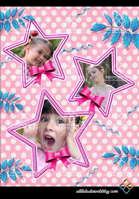 Marco color rosa para colocar 3 fotos de niña