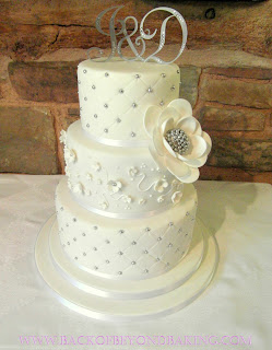 quited wedding cake white silver
