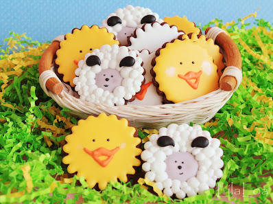 Easter chicks, sheep, and ducks -- chocolate sugar cookies