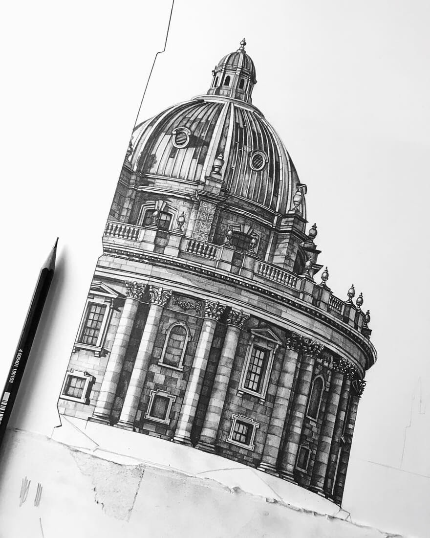 09-Radcliffe-Camera-in-Oxford-Minty-Sainsbury-Traditional-Architecture-Drawings-in-Pencil-www-designstack-co