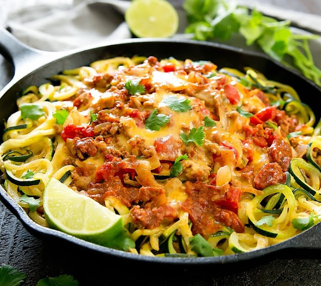 One Pot Taco Zucchini Noodles #healthy #glutenfree