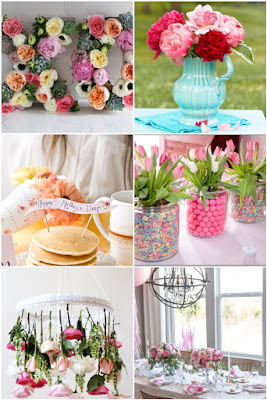 mother's day decor ideas decoration inspiration diy floral flowers chandelier pancakes table