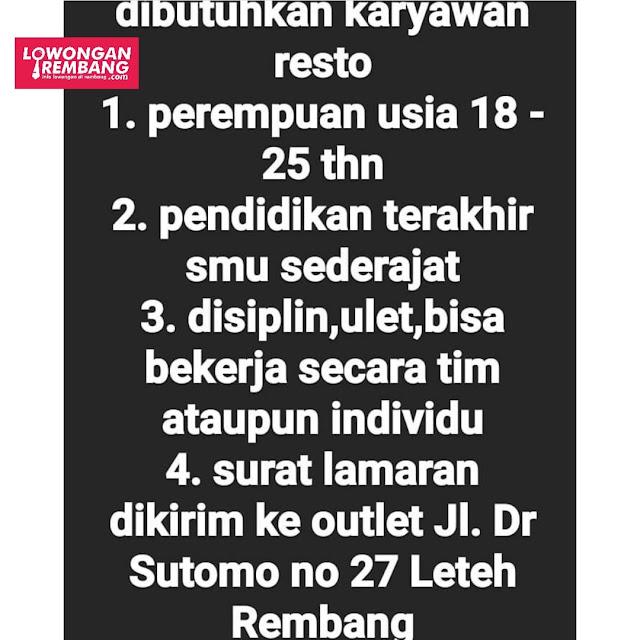 Lowongan Kerja Pegawai Resto Geprek Sako Rembang