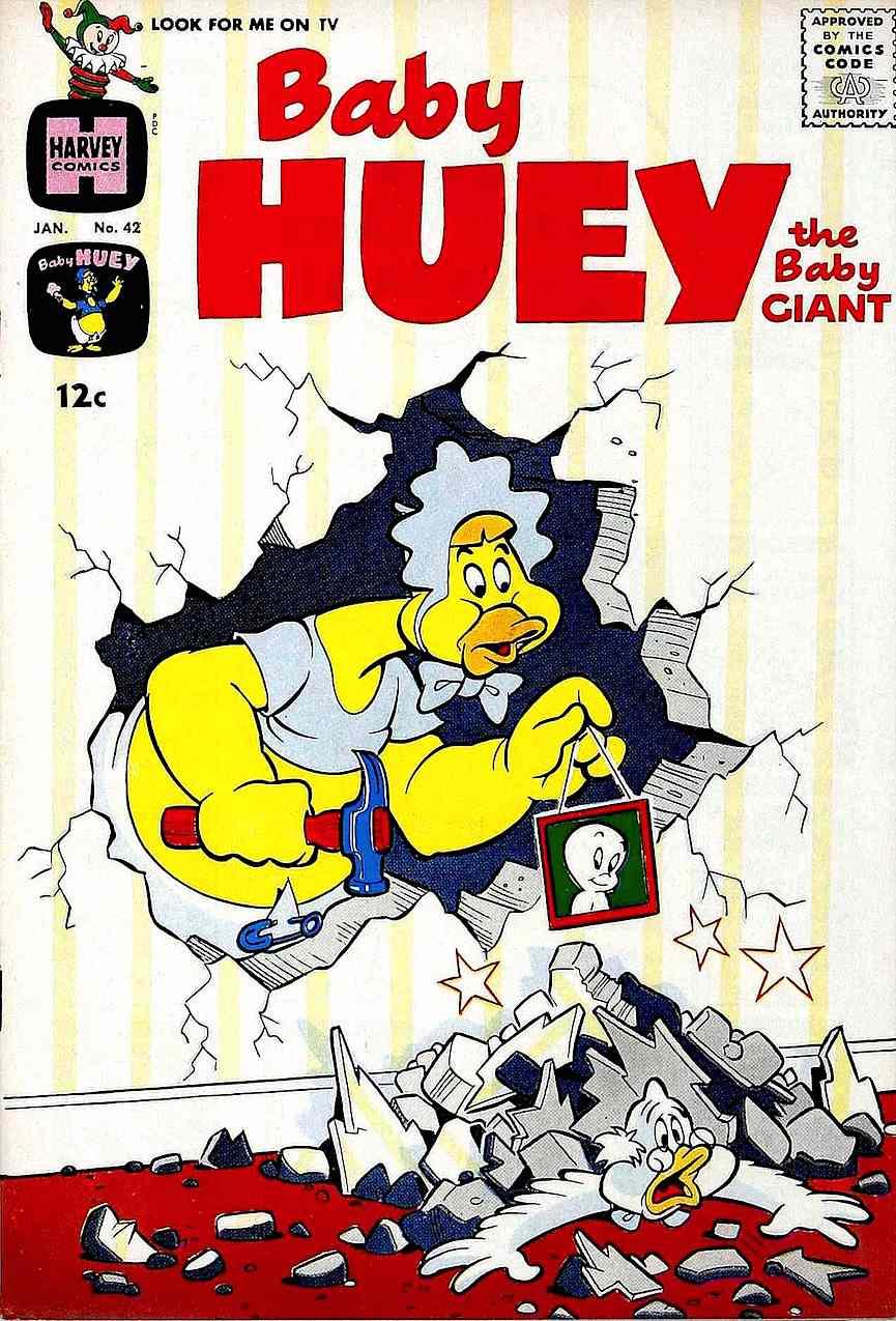 a Baby Huey comic book cover, 1960s Harvey Comics, giant powerful baby