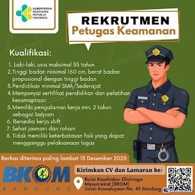 Lowongan Kerja SMA/SMK Terbaru Desember 2020 di Balai Kesehatan Olahraga Masyarakat (BKOM) Bandung