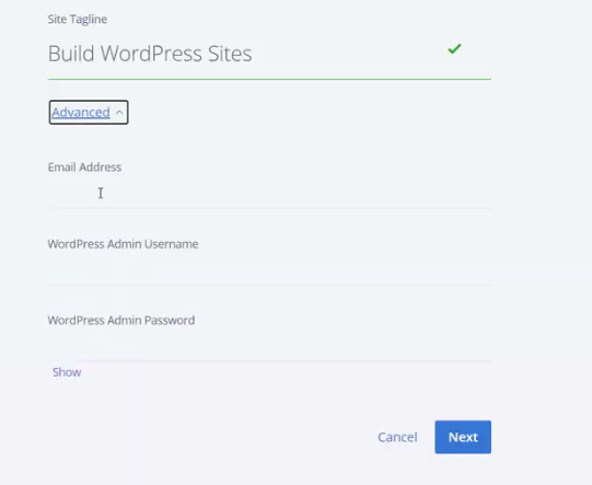 Create WordPress username and password on bluehost