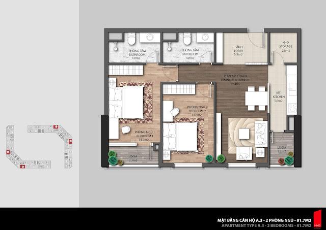 Thiết kế căn A.3 diện tích 81,7m2 chung cư The Emerald