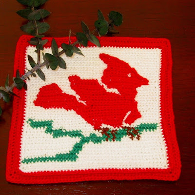 Red Cardinal on Branch - Crochet Tapestry Handmade by RSS Designs In Fiber