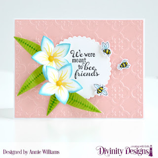 Stamp/Die Duos: Bee-lieve Custom Dies: A2 Landscape Card Base with Layer, Matting Rectangle, Scalloped Circles, Frangipani Embossing Folder/Die Duo: Quatrefoil