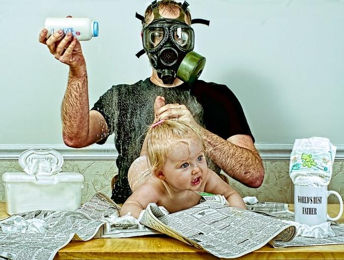 gambar lucu bayi dan bapak