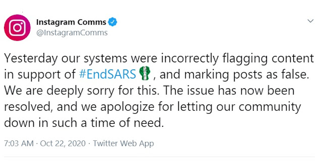 Facebook, Instagram Apologize For Flagging #EndSARS Posts False, Explain Reasons