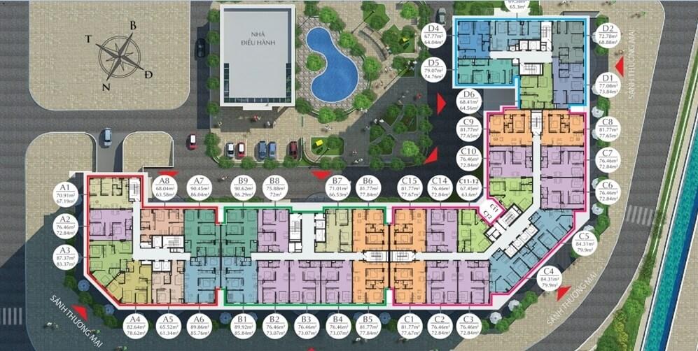 Mặt bằng tầng 2 đến 8 chung cư Ecocity Long Biên.