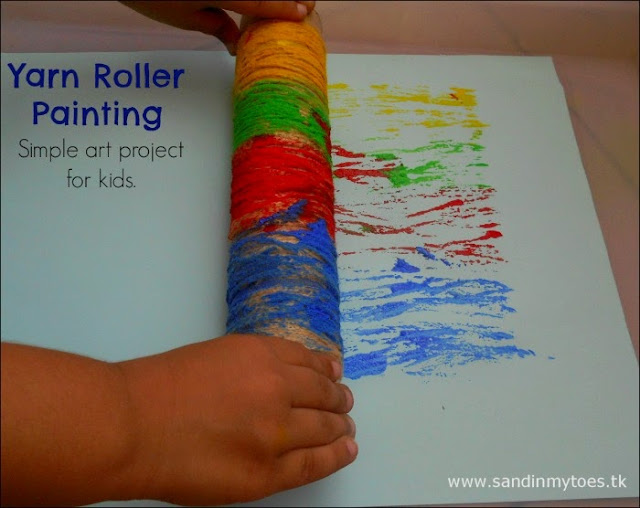 Yarn Roller Printing - Simple art project for kids.