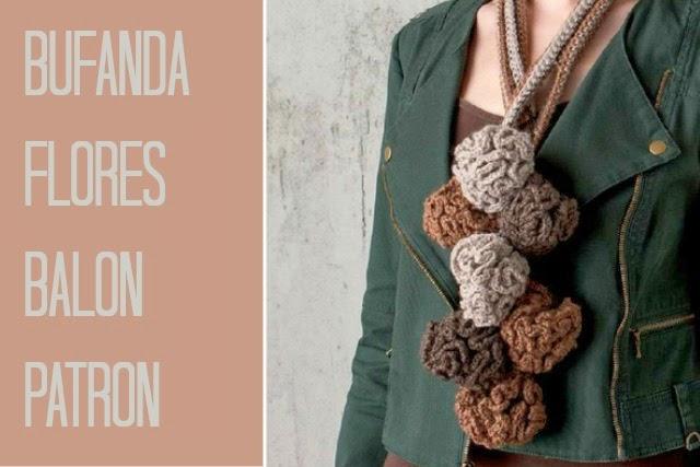 Bufanda Flores Crochet en Balon Patron