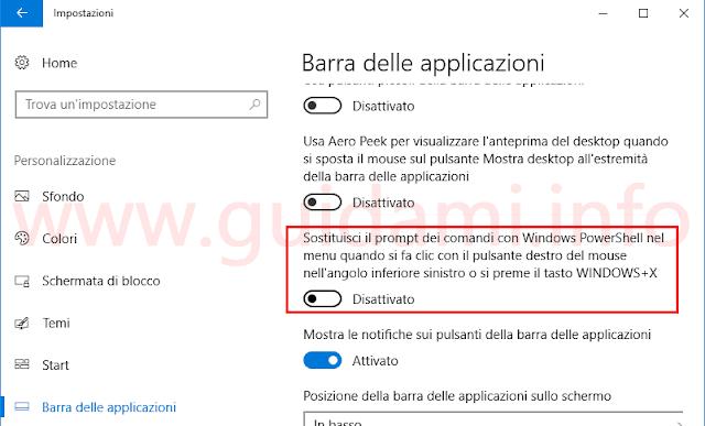 Windows 10 Creators Update impostazione per passare da PowerShell al Prompt dei comandi