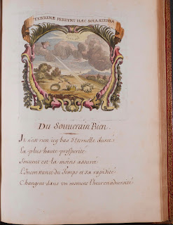 A page of French verse with an engraving featuring laurels, a crown, and a wreath of stars.