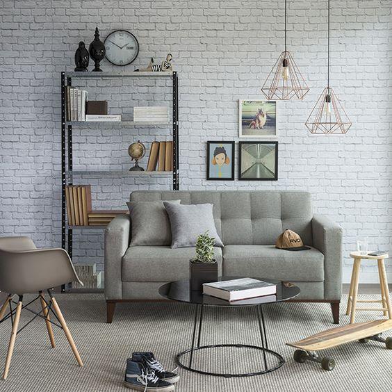 papel de parede tijolinho branco sala sofá cinza