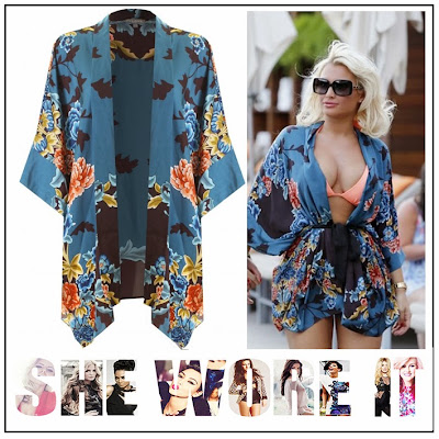 The Only Way is Vegas, Billie Faiers, In Love with Fashion, Blue, Aubergine, Coral, Mustard, Japanese Floral Print, Over-Sized Kimono, TOWIE, The Only Way Is Essex,