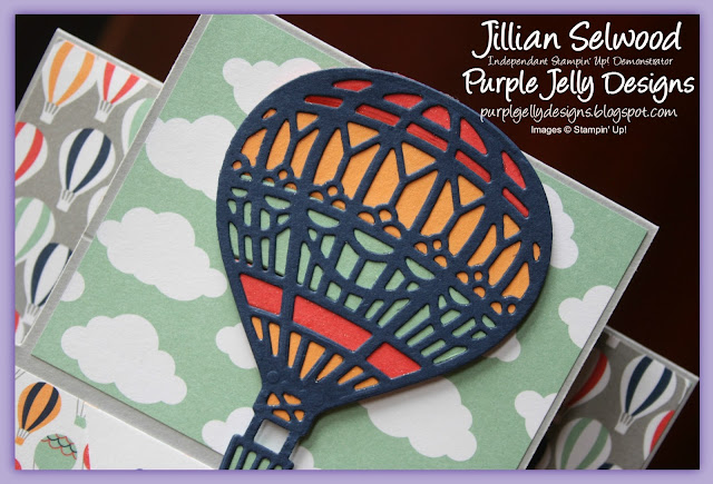 Sending smiles across the miles, Hot air Balloon fancy fold card