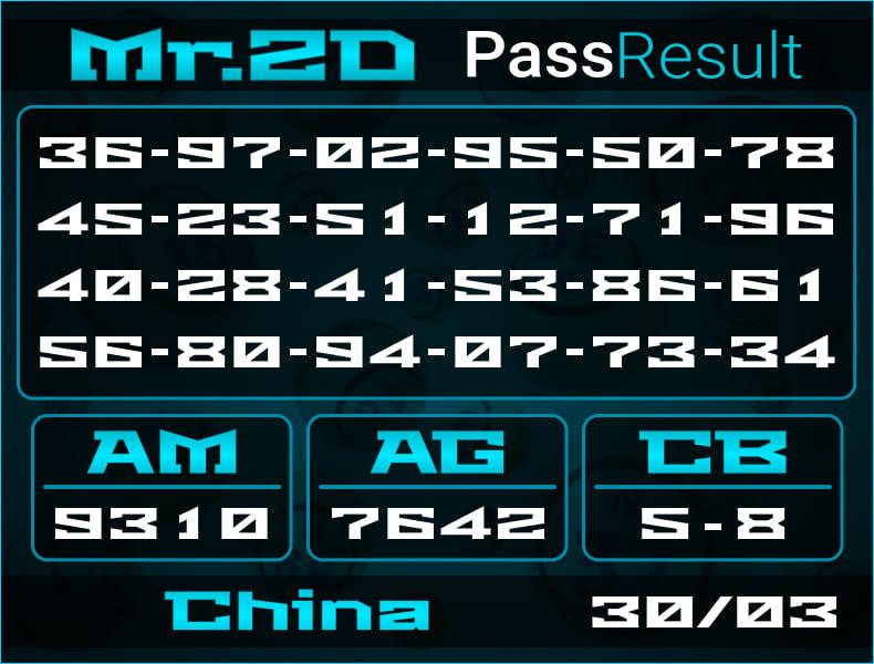 Prediksi Mr.2D | PassResult - Selasa, 30 Maret 2021 - Prediksi Togel China