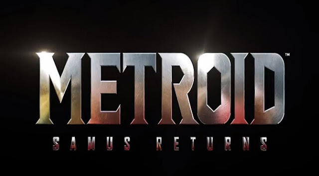 A cinematic silver display of the words Metroid Samus Returns