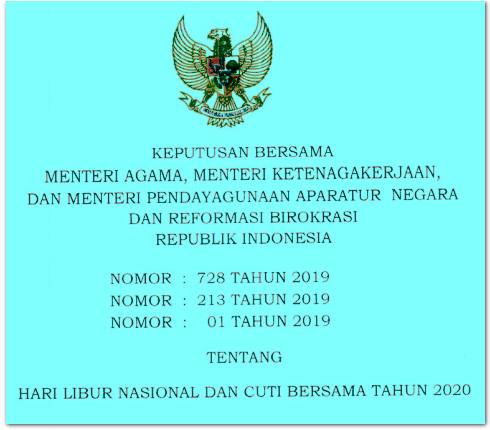 Hari Libur Nasional dan Cuti Bersama Tahun 2020 - INFO PNS