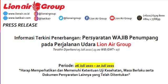 Persyaratan WAJIB Penumpang pada Perjalanan Udara Lion Air Group