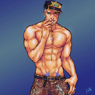 jotaro Kujo jojo jjba bara muscle gay art