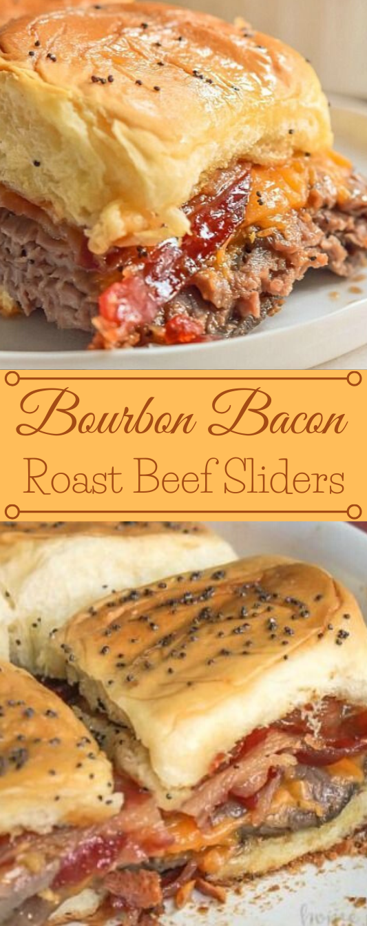 BOURBON BACON ROAST BEEF SLIDERS #appetizers #snacks #creamcheese #wontons #lunch