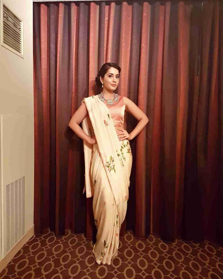 Rashi Khanna Photos In White Saree At AtA