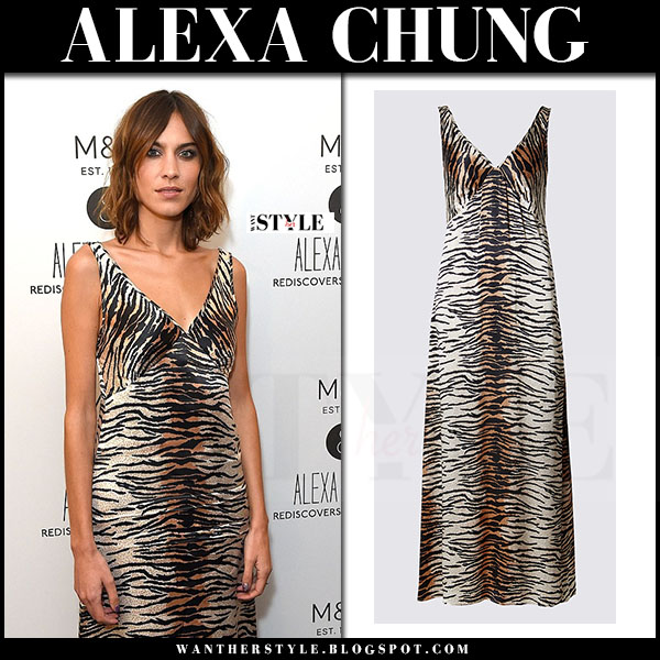 Alexa Chung in animal print slip dress archive by alexa what she wore