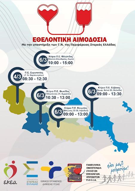 Όλοι Μαζί Μπορούμε: Εθελοντική Αιμοδοσία σε όλη την Περιφέρεια Στερεάς Ελλάδας