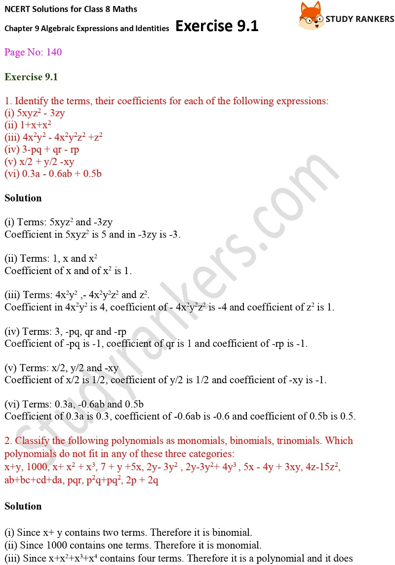 NCERT Solutions for Class 8 Maths Ch 9 Algebraic Expressions and Identities Exercise 9.1 3