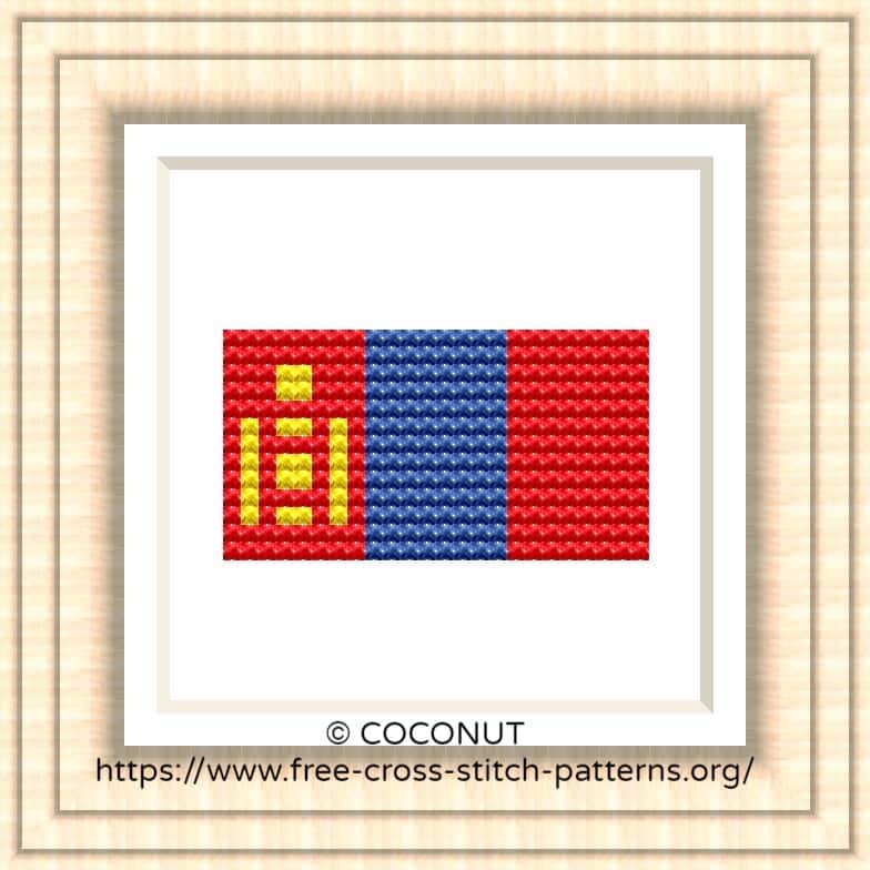 NATIONAL FLAG OF MONGOLIA CROSS STITCH CHART