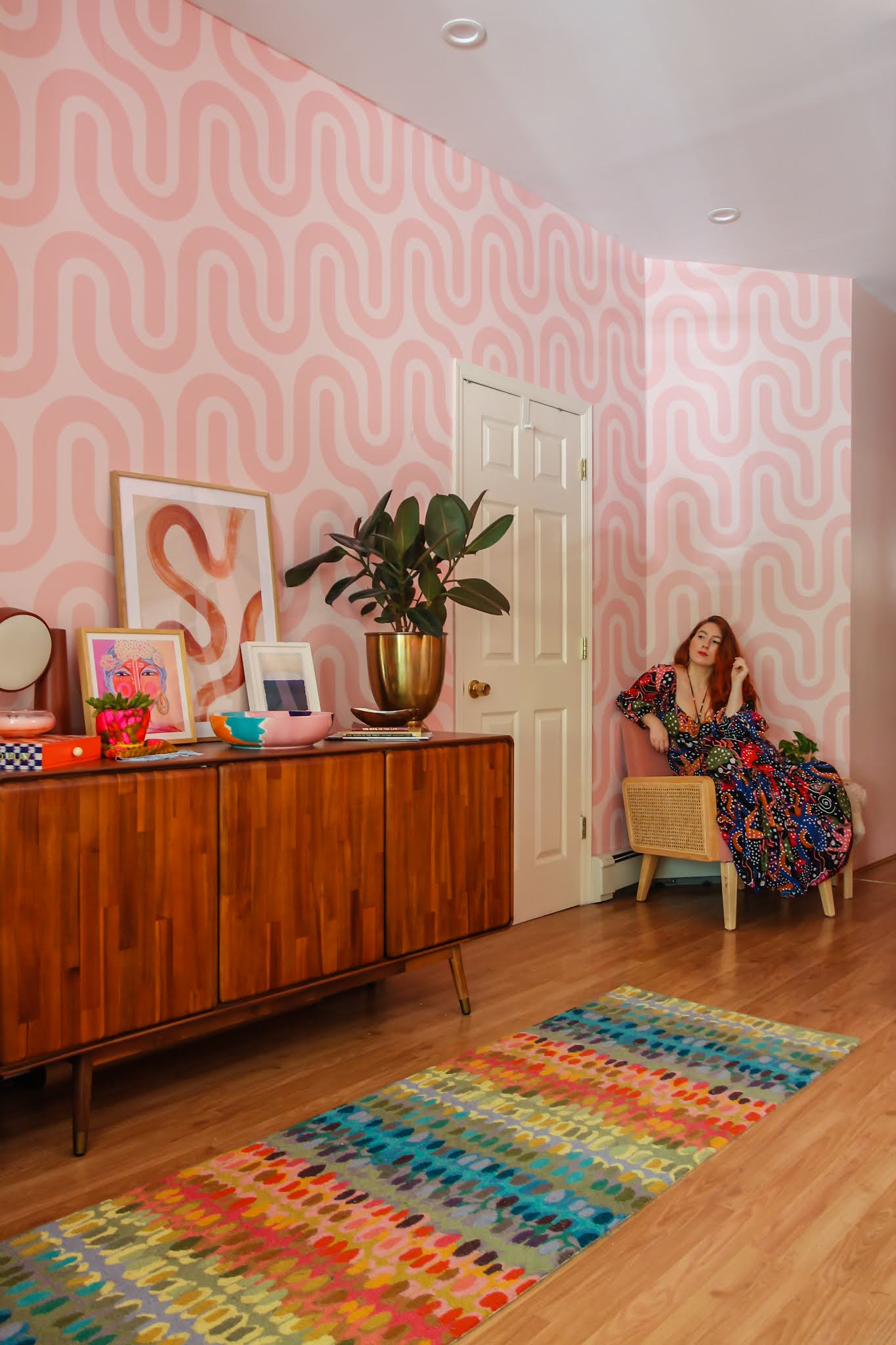 wallpaper ideas // colorful homes // maximalist home decor // pink home decor // retro home decor // retro wallpaper ideas // entryway decor // entryway ideas // small space decor ideas // maximalist homes // farm rio dress // pink velvet chair // sideboards // pink on pink decor