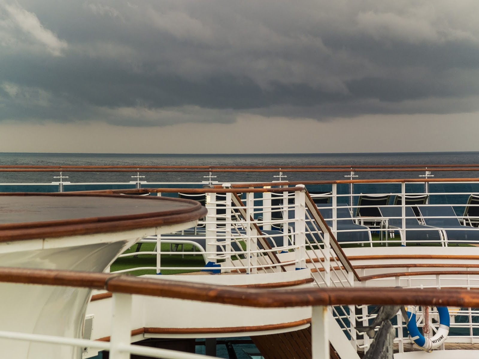 Cloudy skies over an open deck on the Sapphire Princess.