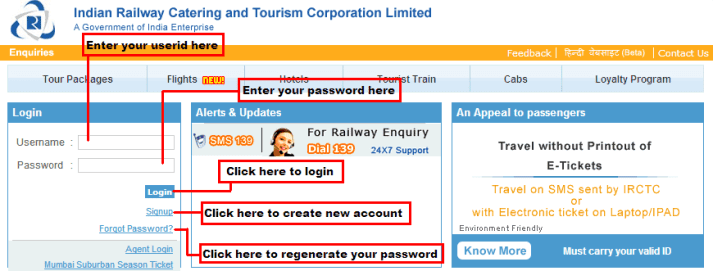Important options on IRCTC Login Page