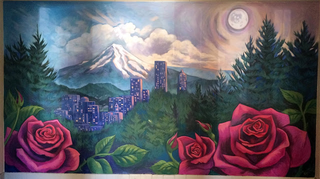 portland mural, mt hood mural, rose mural, cityscape mural, moon mural, forest mural