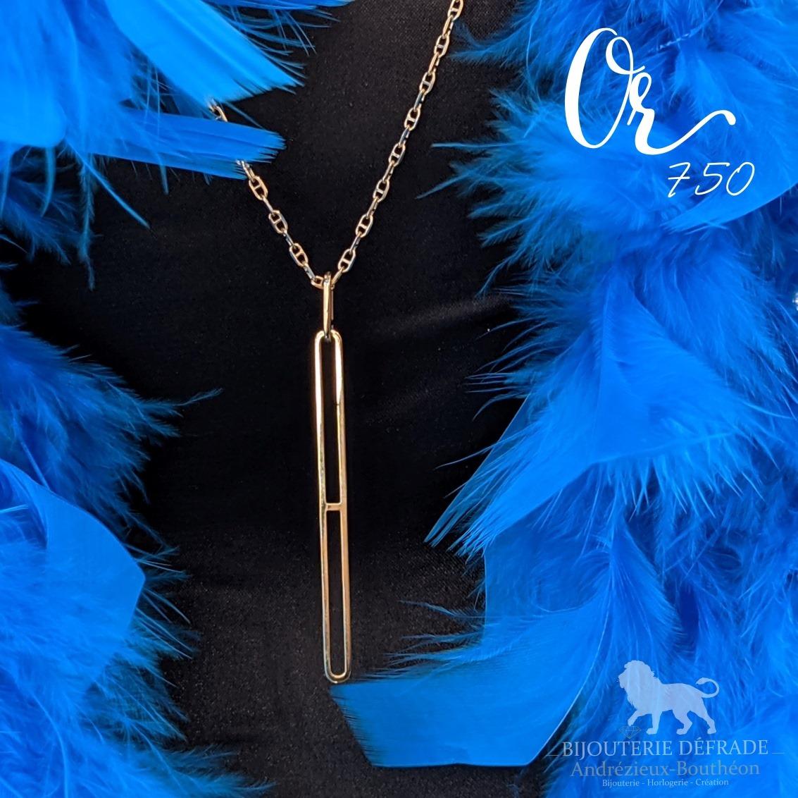 pendentif or et sautoir maille marine a la bijouterie defrade