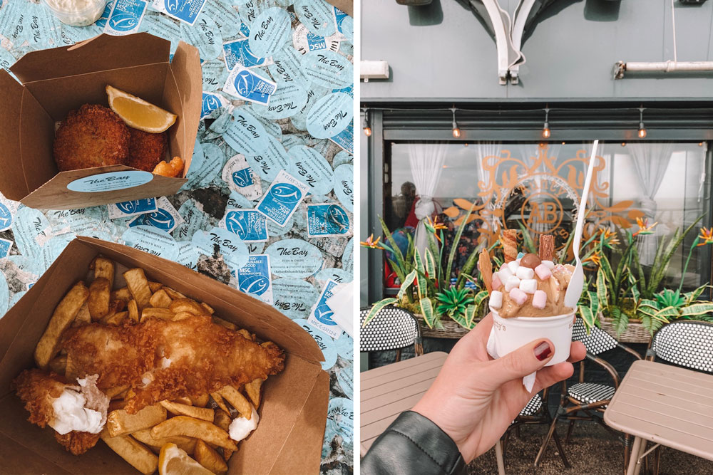 travel blogger Amanda Martin has The Bay Fish and Chips and Aunt Betty's ice cream for lunch while road tripping through Stonehaven, Scotland