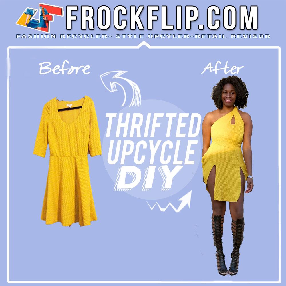 4493c918c9 Thrift Transformation  Yellow Scoop Neck Dress DIY  Refashion ...