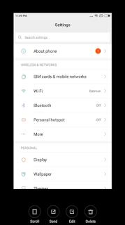Cara Screenshot dan Screenshot Panjang di Xiaomi MIUI 9 Semua Seri