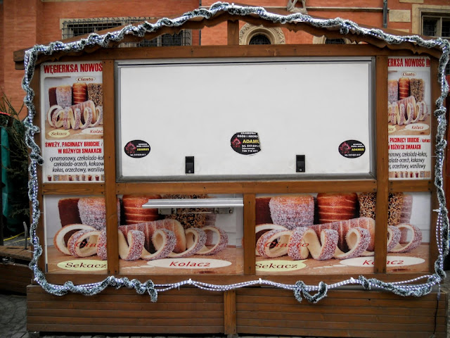 Chimney cake stall at the Christmas Market in Wroclaw, Poland
