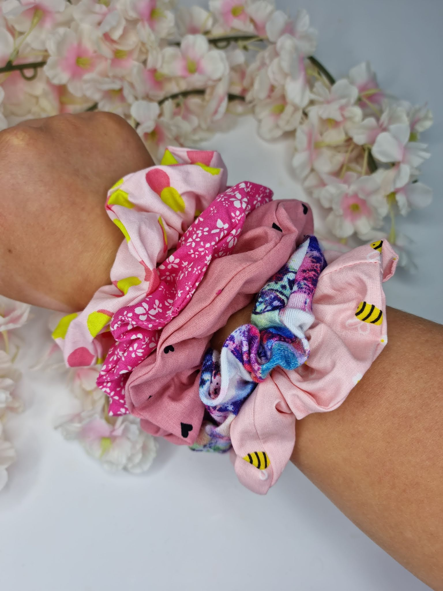 Sammi's Scrunchies scrunchies on a wrist