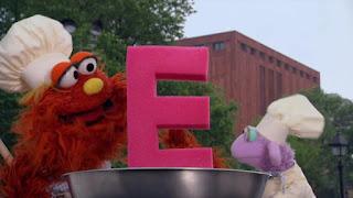 Chef Ovejita, Chef Murray, Alphabet Cookoff letter E, Sesame Street Episode 4315 Abby Thinks Oscar is a Prince season 43