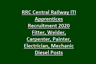 RRC Central Railway ITI Apprentices Recruitment 2020 Fitter, Welder, Carpenter, Painter, Electrician, Mechanic Diesel Posts