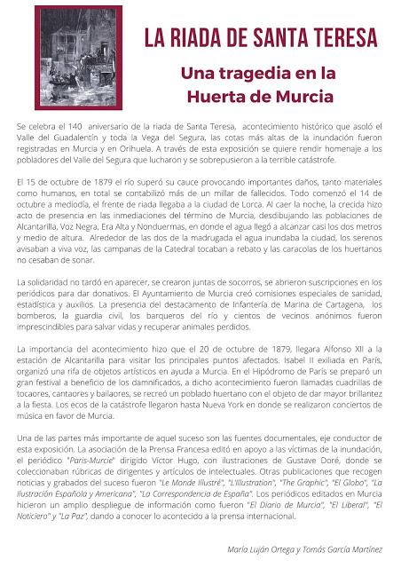 """Exposición: """"La riada de Santa Teresa. Una tragedia en la Huerta de Murcia"""""""