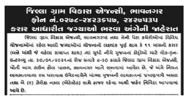 DRDA Bhavnagar Recruitment for Various Posts 2021